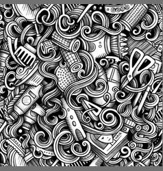 graphic hair salon artistic doodles seamless vector image
