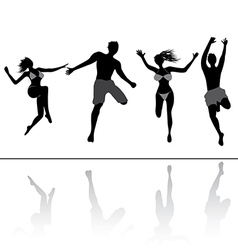 Jumping people friends vector image vector image