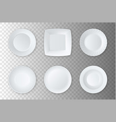 realistic white empty food plate dish and vector image vector image