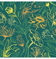 Green floral pattern with bright colors vector image