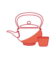Japanese kettle teapot ceramic beverage shadow vector