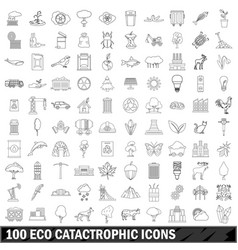 100 eco catastrophic icons set outline style vector