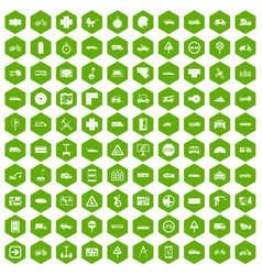 100 location icons hexagon green vector