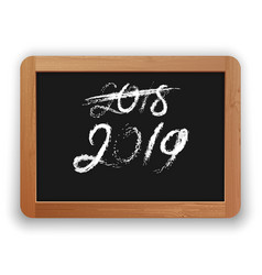 2018 crossed out and 2019 chalk calligraphy on the vector image