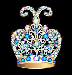 a shiny golden crown with precious stones vector image