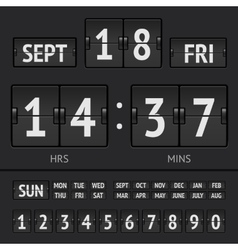 Analog black scoreboard digital week timer vector image