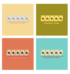 Assembly flat icons poker straight flush vector