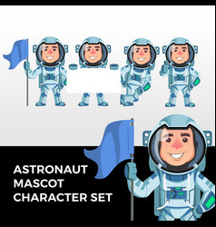 astronaut mascot character set logo icon vector image