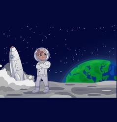 Astronaut or cosmonaut standing on moon vector