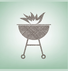 Barbecue with fire sign brown flax icon vector