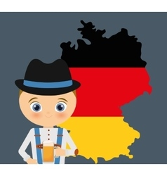 Beer boy cartoon hat oktoberfest map icon Germany vector