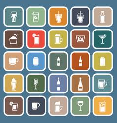 beverage flat icons on blue background vector image