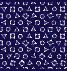 Blue shibori elegant triangle square circle vector