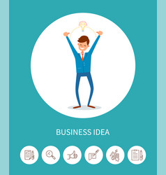 Business idea man with electric bulb lamp eureka vector