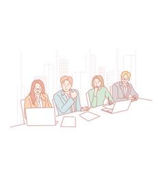 Business team meeting presentation hr audition vector