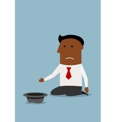 Businessman begging for money with hat vector