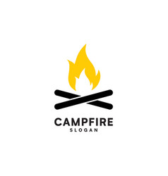 campfire with firewood vector image