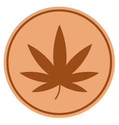 cannabis bronze coin vector image