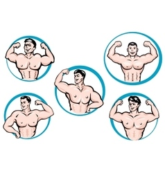 Cartoon bodybuilders show a muscles vector image