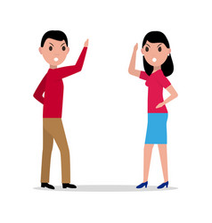 cartoon man woman quarrel couple angry vector image