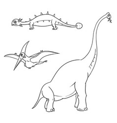 cartoon set 01 of ancient dinosaur monsters vector image