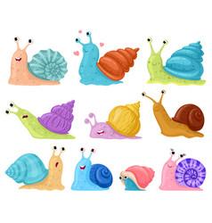 Cartoon snail garden snails mascots cute little vector