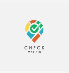 check mark map pin logo icon template vector image