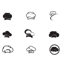 chef hat logo and symbols black color icon vector image