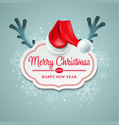 Christmas card with Santa Claus hat and reindeer vector image