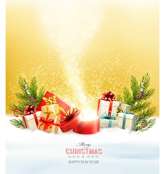 Christmas holiday background with presents and vector