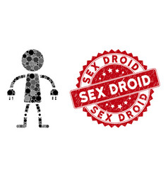 Collage robot with scratched sex droid stamp vector