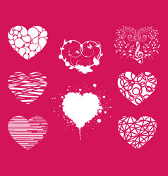 collection of various love heart symbol shapes vector image