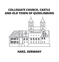 Collegiate church castle and old town of vector