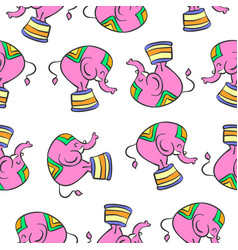 Colorful elephant circus pattern style vector