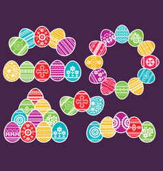Combinations of color easter eggs isolated on vector