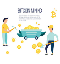 concept design with people mining bitcoins vector image
