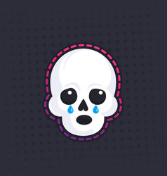 crying skull sticker vector image