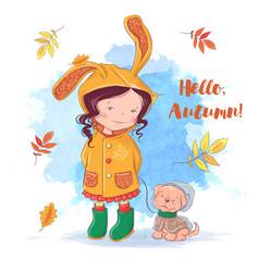 cute autumn card with a girl and a dog autumn vector image