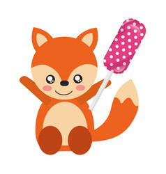 cute fox with lollipop sweet candy vector image