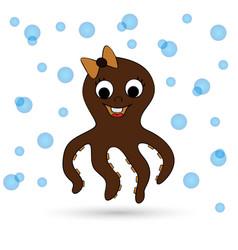 Cute octopus cartoon vector