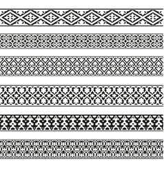 decorative seamless borders vintage set vector image