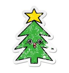 Distressed sticker of a cute cartoon christmas vector