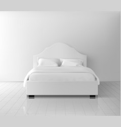 double bed with white bedding realistic vector image