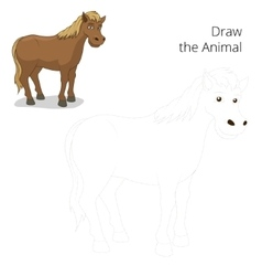 Draw animal horse educational game vector