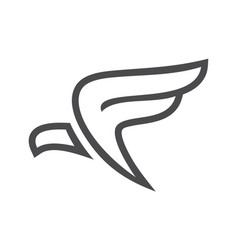 eagle abstract letter f logo icon concept vector image