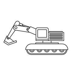 excavator icon outline vector image