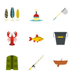 Fisheries icons set flat style vector