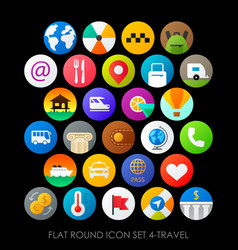 Flat round icon set 4-travel vector