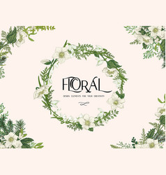 floral frame with wreath vector image