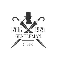 Gentleman club label design with crossed umbrellas vector